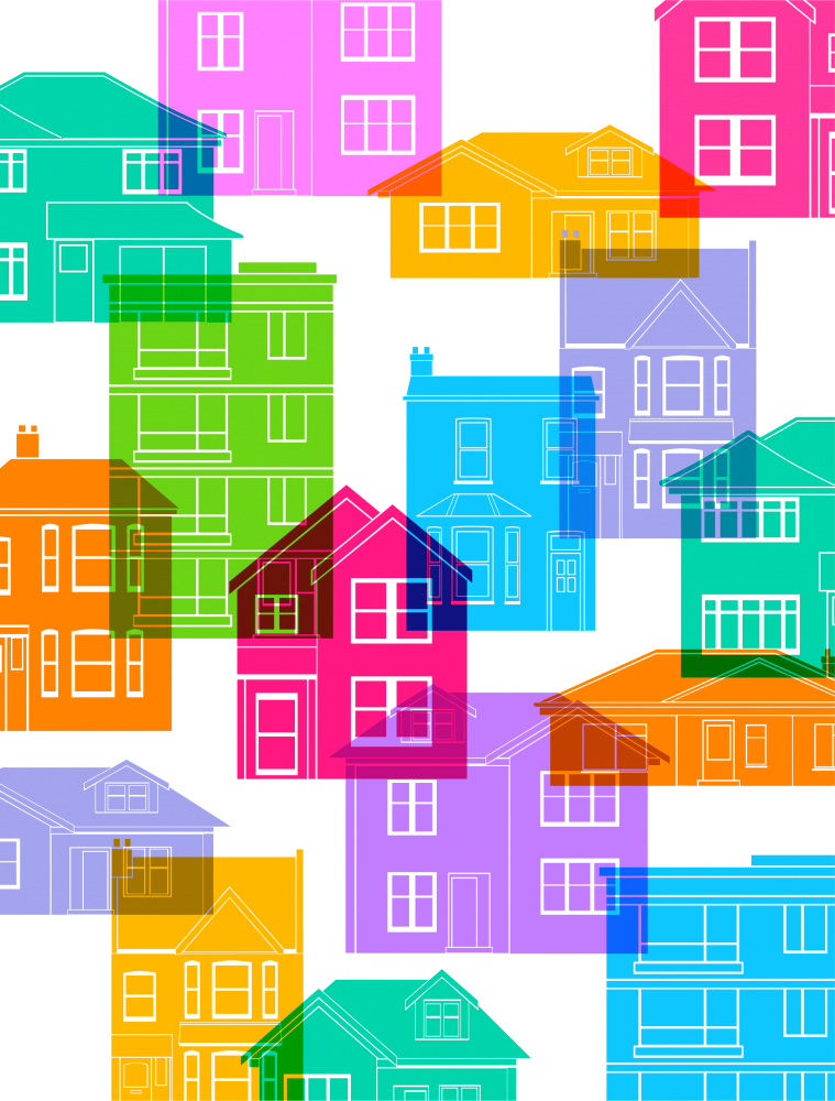 Illustration of multi-colored houses overlapping each other